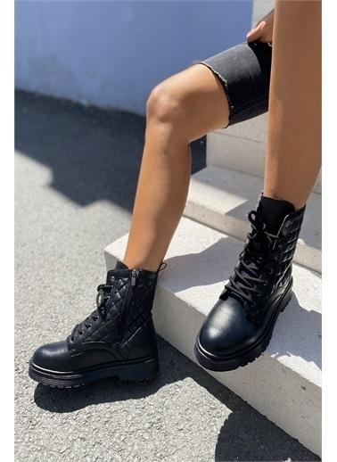 İnan Ayakkabı KAPİTONE DİKİŞLİ İNCE TABAN KADIN BOT Siyah